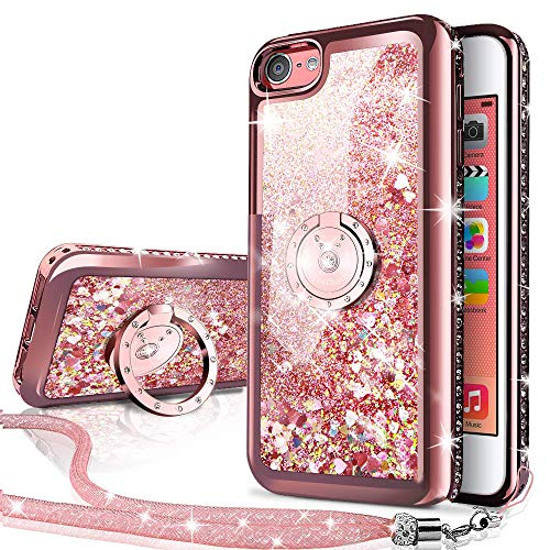 iPhone 4S Case,iPhone 4 Case, Silverback Moving Liquid Holographic Sparkle Glitter Case with Kickstand, Bling Diamond Rhinestone Bumper with Ring Protective Apple iPhone 4S Case for Girls Women (Moving Iphone 4 Case)