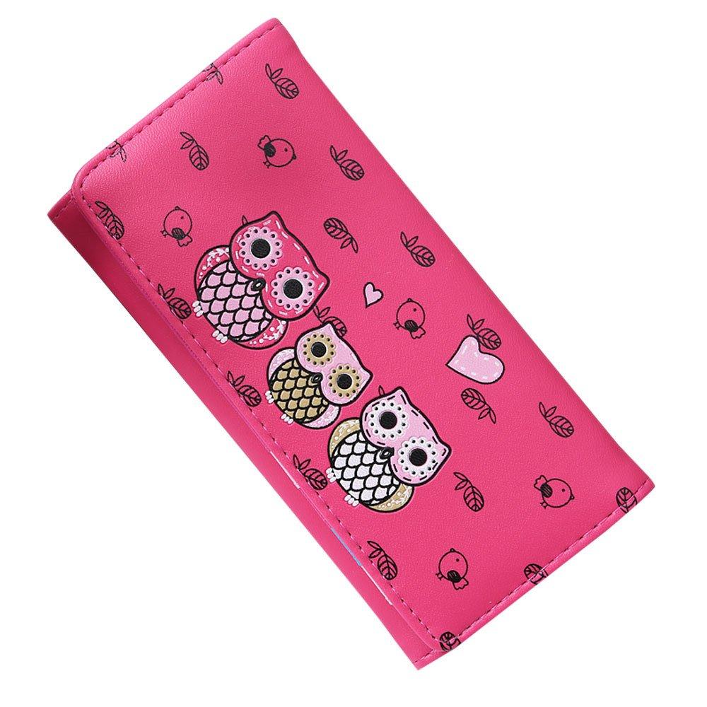 ABASSKY Women Simple Retro Owl Printing Long Wallet Coin Purse Card Holders Handbag (Hot Pink)