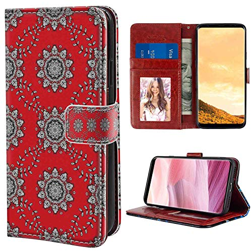 Samsung Galaxy S8 Plus Wallet Case, Red Mandala Sketchy Leaves Swirl Ivy Victorian Mesh Design Inspired Image Vermilion Grey Black White PU Leather Folio Case with Card Holder and ID Coin Slot