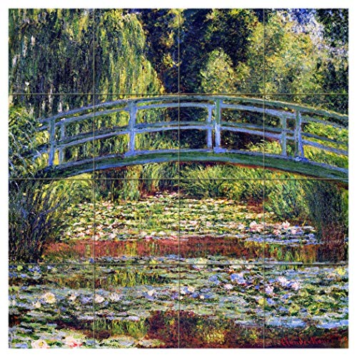 24 x 24 Art Mural Ceramic Monet Bridge Backsplash Tile Behind Stove Range Sink Splashback, Glossy