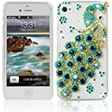 Poposh For Apple iPhone 4 4S 3D Crystal Bling Glitter Diamond Case Cover with Green Blue Peacock - Transparent