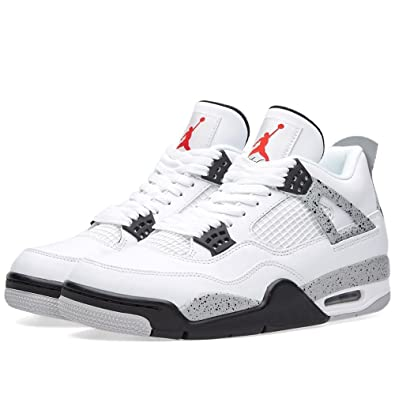 Nike Mens Air Jordan 4 Retro Cement White/Fire Red-Black Leather Size 8