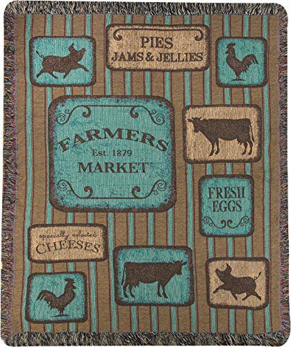 Manual Glasgow Farms Farmers Market Tapestry Throw Blanket With Fringe ATGWFM - 50x60