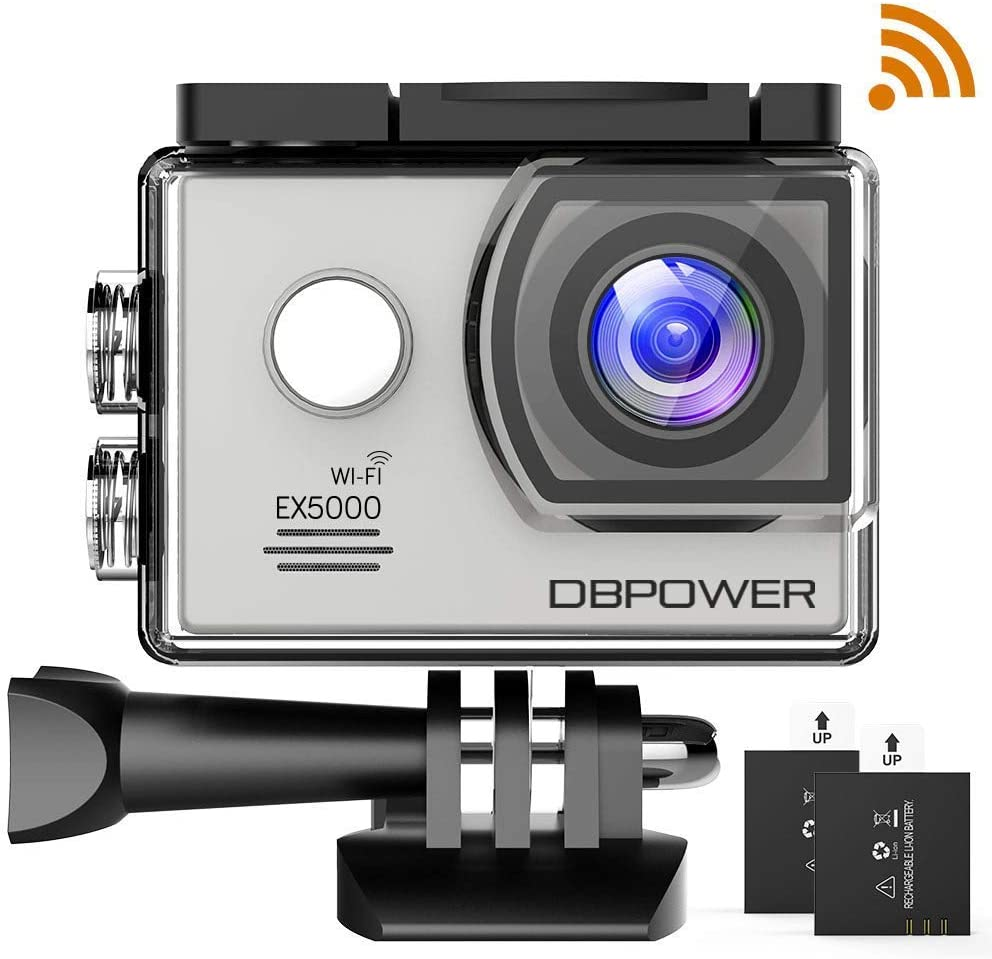 dbpower Authentique Action Camera y de Deporte Impermeable EX5000 WiFi 14 MP Full HD con 2 baterías améliorées y Accesorios gratuitos