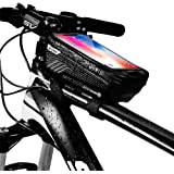 WILD MAN Bike Phone Mount Bag, Cycling Waterproof Front Frame Top Tube Handlebar Bag with Touch Screen Holder Case for iPhone