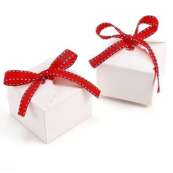 50 X Weiß Hochzeit Gastgeschenk Bonboniere Box Geschenkbox Geschenkschachtel Kartonage Geschenkverpackung Bänder Tischdeko