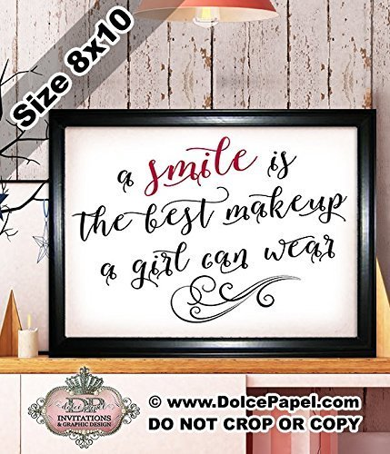 Shimmery Metallic Red and Black A SMILE IS THE BEST MAKEUP A GIRL CAN WEAR Quote Modern Art Deco Framed Art Print Size 8x10 Black ()