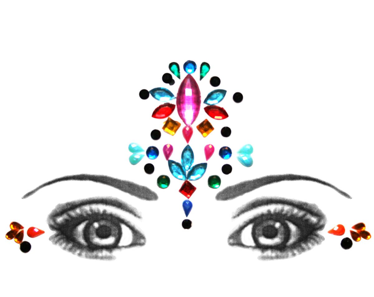 Bindi Eye Corners & Face Jewellery Rhinestone Forehead Decorations Jewels BridalBindis mlti-Forehead-Corners
