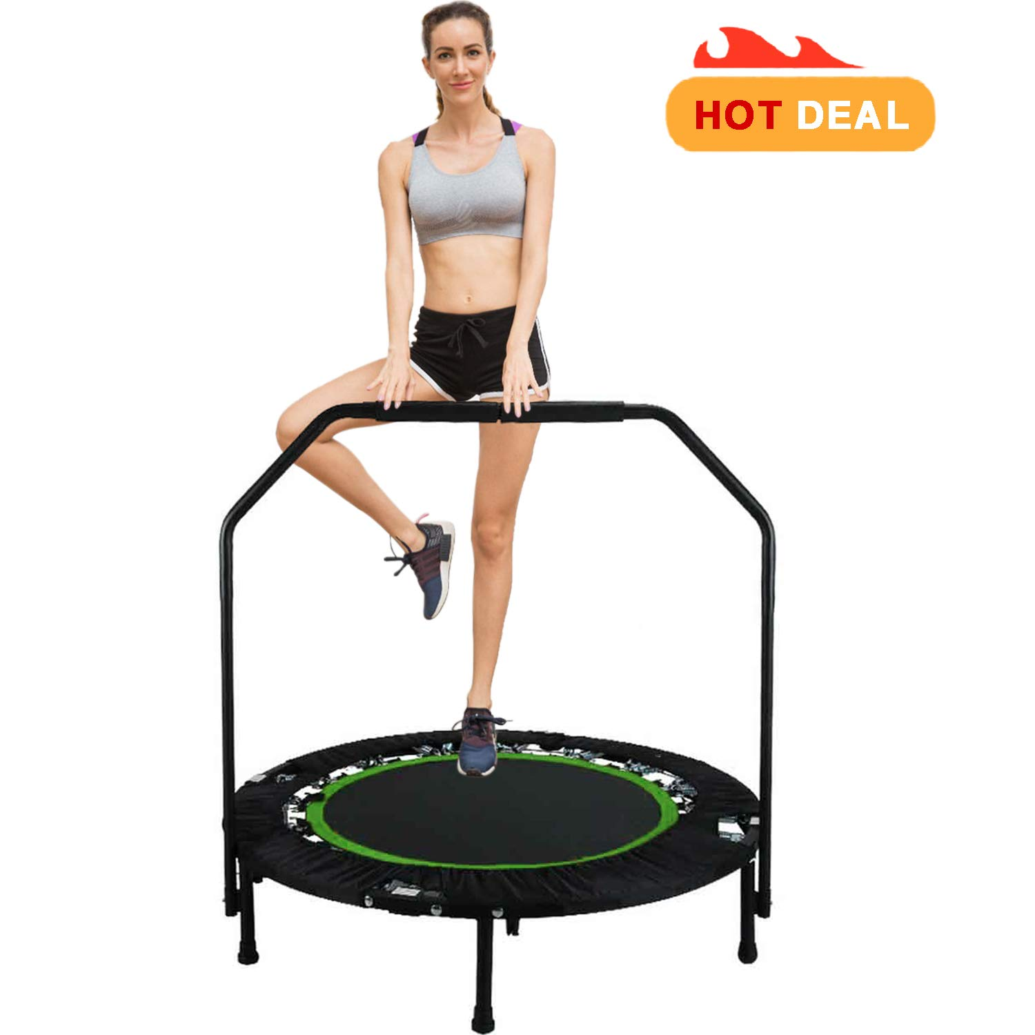 40'' Fitness Exercise Trampoline Foldable with Adjustable Handrail Rebounder Trampoline Indoor Mini Trampoline for Adults or Kids Max. Load 300 lbs Stretch Jump Mat (Green2)