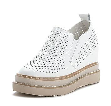 DANDANJIE Zapatos Mocasines de Mujer Zapatos de Mujer Zapatos Ocultos de tacón Blanco Zapatos Casuales de otoño Bajos: Amazon.es: Deportes y aire libre