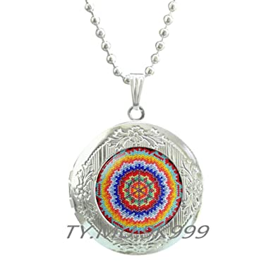 a947ad60a180f Yao0dianxku Mexican Ornamental,Mexican art Locket Pendant, Mexican Folk  Art, Mexican Jewelry, Mexican Jewelry,Boho ethnic Locket Necklace.Y214