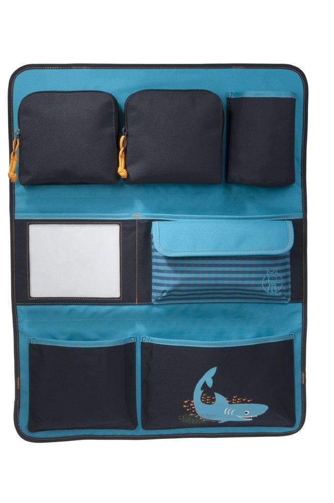 LÄSSIG Autoorganizer Kinder Autorücksitzorganizer Rücksitztasche für Auto oder Kinderzimmer zum Hängen zusammenklappbar / Car-Wrap-to-Go, Shark Ocean