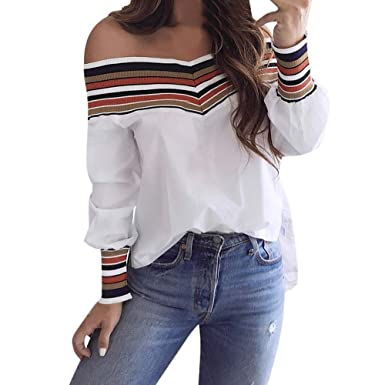 faeffe5baa0 NewlyBlouW Women Fashion Shirts Autumn Casual Multicolor Striped Long Sleeve  Sexy Off Shoulder Top Blouse at Amazon Women's Clothing store:
