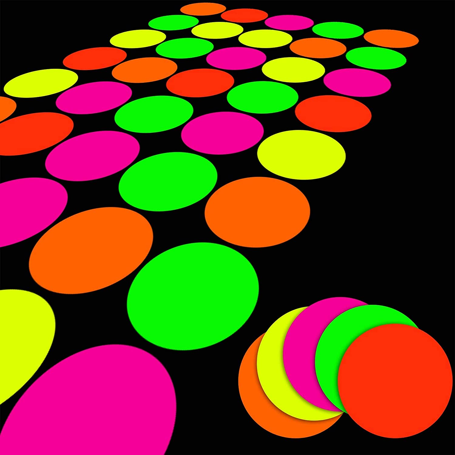 25 SheetsNeonPapers,GlowPartyDecoration SuppliesDIYDanceFloor Moves Games Classic TwisterUVReactiveMulti-Colored Cardstock for Black Light Neon Birthday Party Wedding, 5 Colors, Fluorescent