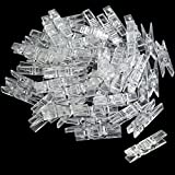BronaGrand 50pcs Small Clear Plastic Utility Paper Clip, Clothespins Clip, Clothes Line Clips,Photo Clips 3.5x0.7cm