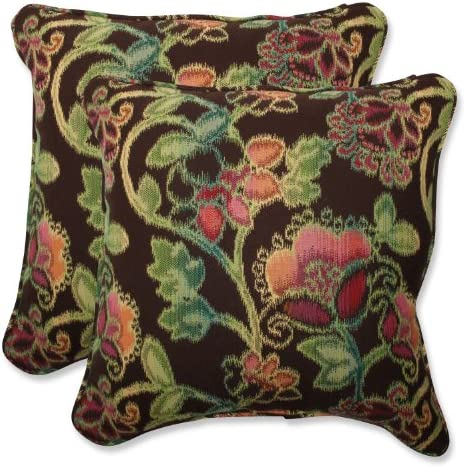 Pillow Perfect Outdoor Indoor Vagabond Paradise Throw Pillows, 18.5 x 18.5 , Brown, 2 Pack
