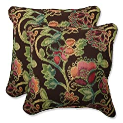 Pillow Perfect Throw Pillow with Sunbrella Vagabond Paradise Fabric, 18.5-Inch, Set of 2