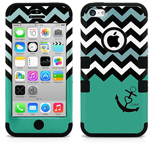 iPhone 5C Case, MagicMobile Hybrid Impact Shockproof Cover Hard Armor Shell and (Anchor Patterns)