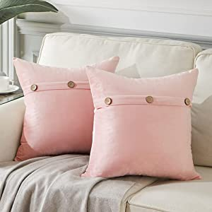 Fancy Homi 2 Packs Farmhouse Decorative Throw Pillow Covers for Living Room Couch Bed, Soft Velvet Fabric with Triple Buttons, Vintage Home Decor, Accent Cusion Case (18x18 Inch/45x45 cm, Blush Pink)