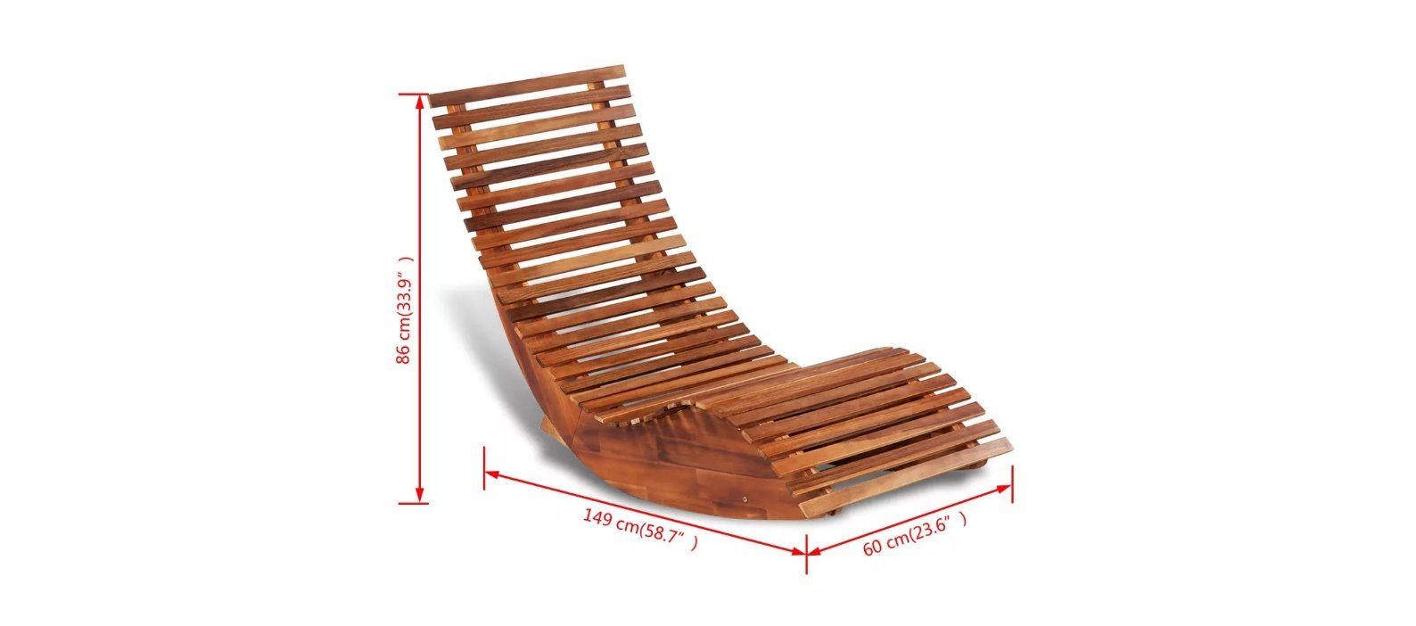 Rocking Chair Made of Acacia Wood Sun Lounger for Both Indoor and Outdoor Use Chair Dimensions 58.7'' x 23.6'' x 33.9'' (L x W x H) by Chloe Rossetti (Image #3)