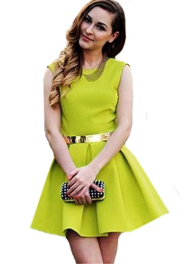 Sheinside - Vestido - Triángulo - para mujer Verde verde: Amazon.es: Ropa y accesorios