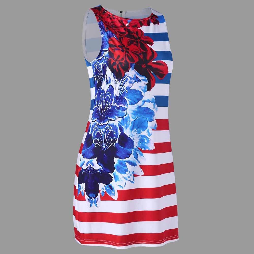 Women American Flag Vest Dress Printed Stripe Stitching O-Neck Sleeveless Maxi Mini Dress (S, Multicolor) by S&S-women (Image #3)