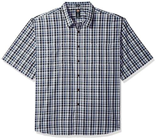 Down Dickies Shirt Denim Button (Dickies Men's Yarn Dyed Plaid Short Sleeve Shirt Big-Tall, Dark Denim Check, 3X)