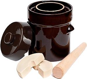 Fermentation Crock Jar 5 Liter / 1.3 Gallon-Stoneware Pot for Fermenting Pickling Kimchi, Sauerkraut, Pickles, Vegetables, Kombucha,Glazed Ceramic Fermenter with Weights,Lid & Pickle Tamper
