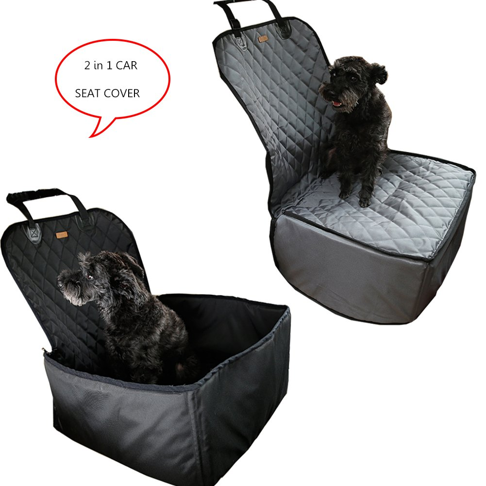 Black 2 in 1 Deluxe Dog& Cat Front Seat Cover Waterproof Scratchproof Dog Seat Cover for Cars Trucks and SUVs (Black)