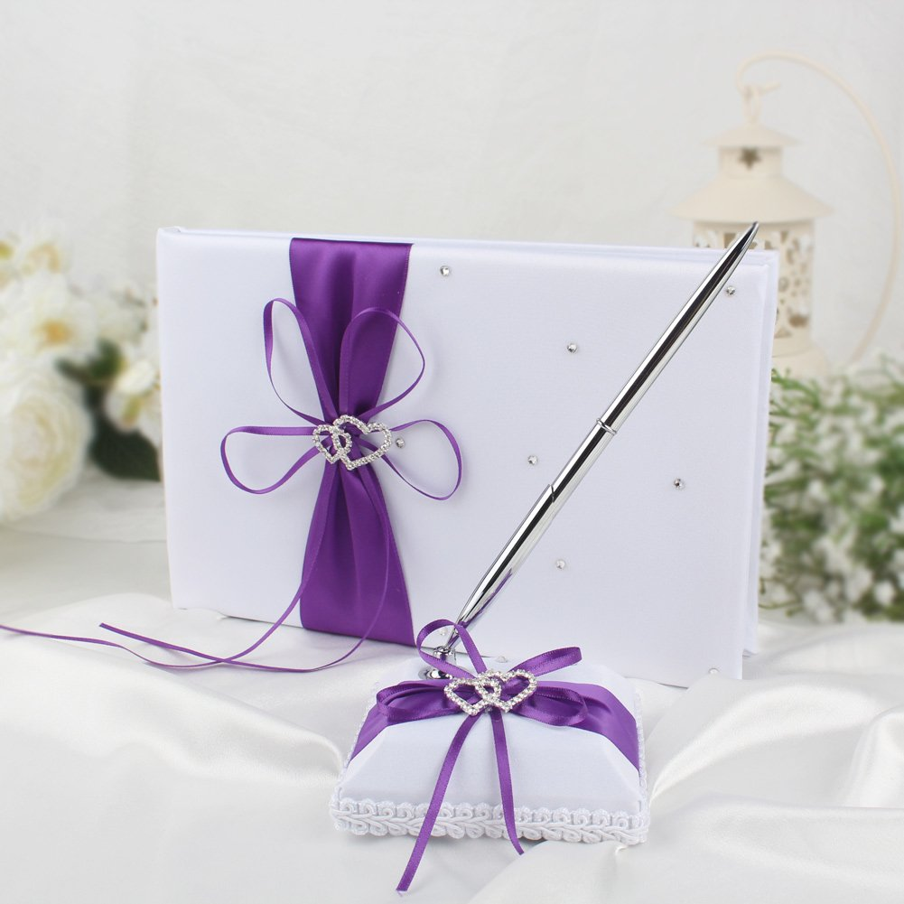 Amazon.com: OurWarm Wedding Guest Book and Pen Set Double Heart ...