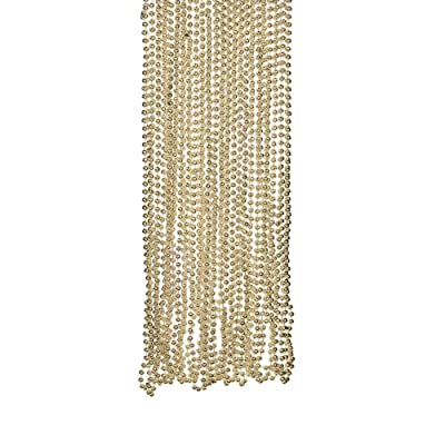 Gold Metallic Beads Necklace (4DZ) - Jewelry - 48 Pieces: Toys & Games