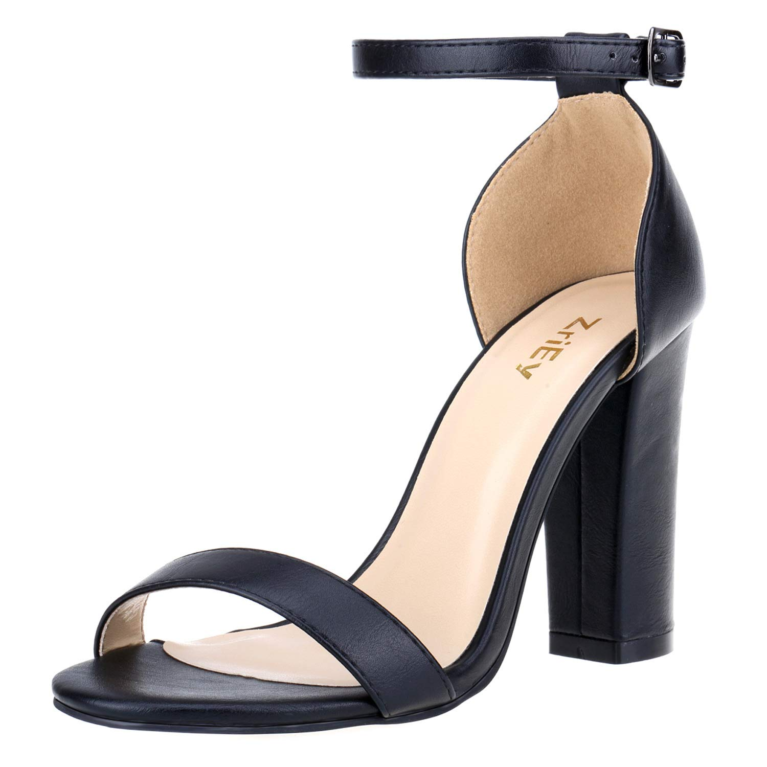 979e1bfe780 ZriEy Women's Chunky Block Strappy High Heel Pump Sandals Fashion Ankle  Strap Open Toe Shoes