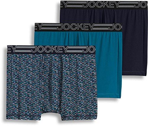 (Jockey Men's 3-pk. Blue Active Printed Boxer Briefs Medium Peacock Blue,)
