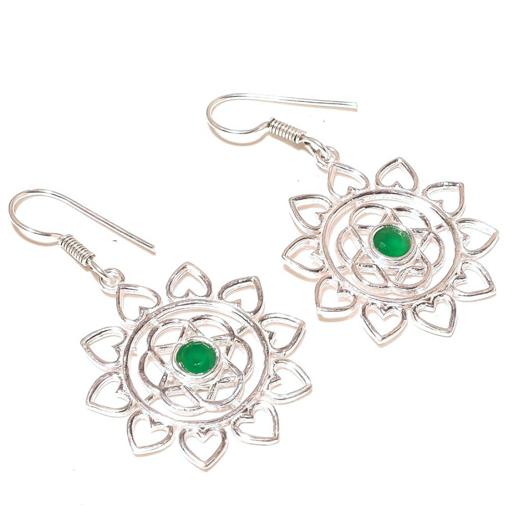 Handmade Ancient Green Dyed Emerald Sterling Silver Overlay 6 Grams Earring 2