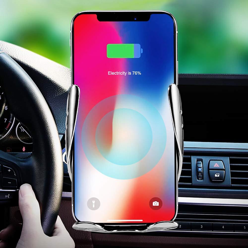 Huawei /Último Estilo Actualizado FREESOO Cargador Inal/ámbrico Coche QI Carga R/ápida Cargador de Coche Soporte M/óvil Aplicable a Rejillas del Aire para iPhone X//XS//XR//8//8 Plus Samsung Galaxy