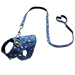 Beirui Denim Dog Harness Vest and Leash Set - Soft Blue Padded Pet Jean Stars Dog Shirt Pet Clothing - Dog Apparel & Accessories with Pocket for Puppy Small Dogs Cat Chihuahua,Teddy,Bichon, Schnauzer