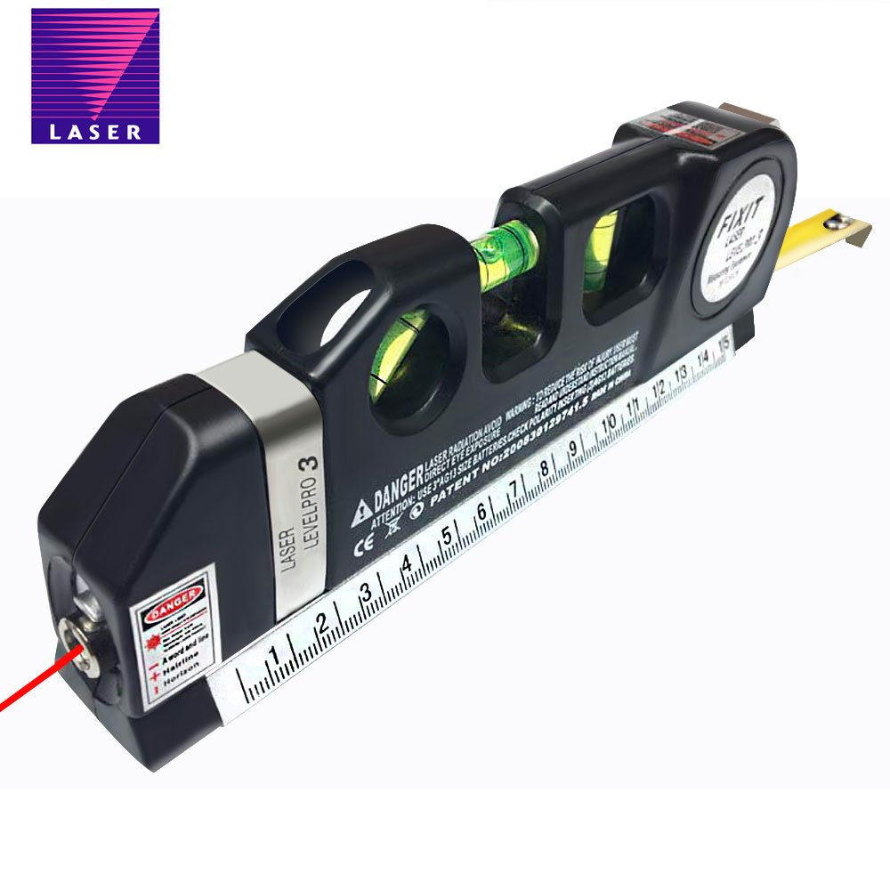 Multipurpose Laser Level tape with Measure Line 8 FT/2.5M Measure Tape Ruler Laser Leveler Horizon Vertical Measure Line Adjusted Standard and Metric Rulers