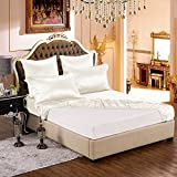 Taihu Snow 19mm Mulberry Silk Queen Fitted Sheet with Embroidery - Ivory White