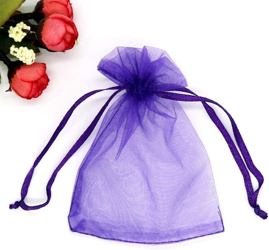 7 * 9cm 100 Pi/èces Organza Sacs Cadeaux De Sucrerie De No/ël Bijoux Party Favor Mariage Classique Couleur Unie POCHETTES Size : 7 * 9CM Magnifique Sacs Cadeaux