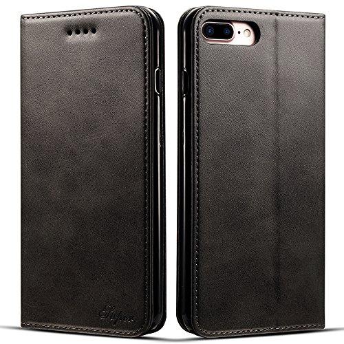 Samsung Galaxy S8 Hülle Flip Case Leder Handy Hülle Tasche Schale mit 3 Kredit Karten Hülle Geldklammer mit Unsichtbarem Magnet Verschluss und Stand Funktion Schutzhülle,Schwarz.