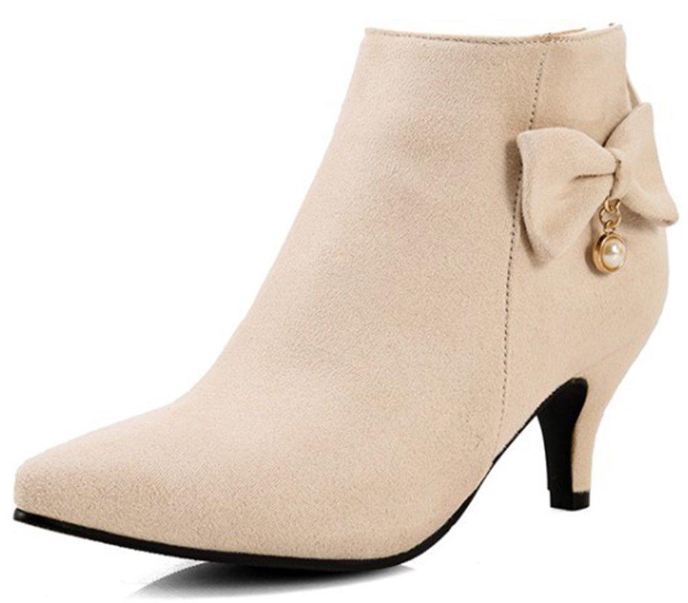 Summerwhisper Women's Elegant Faux Suede Bowknot Pointed Toe Bridal Booties Back Zipper Kitten Heel Ankle Boots Shoes Beige 10.5 B(M) US