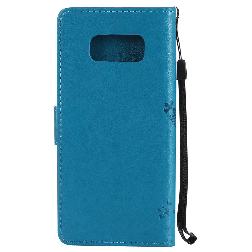 Fatcatparadise Cover Galaxy S8 Retro Flip Caso in Pelle Premium Portafoglio Custodia Fondina Silicone Slot Schede PU Supporto per Samsung Galaxy S8 5.8 Gatto e Albero Serie Rosso ,