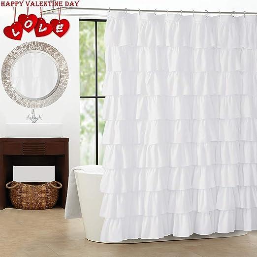 1Pc White Geometric Printed Bath Curtain Polyester Watertight Shower Curtains BA