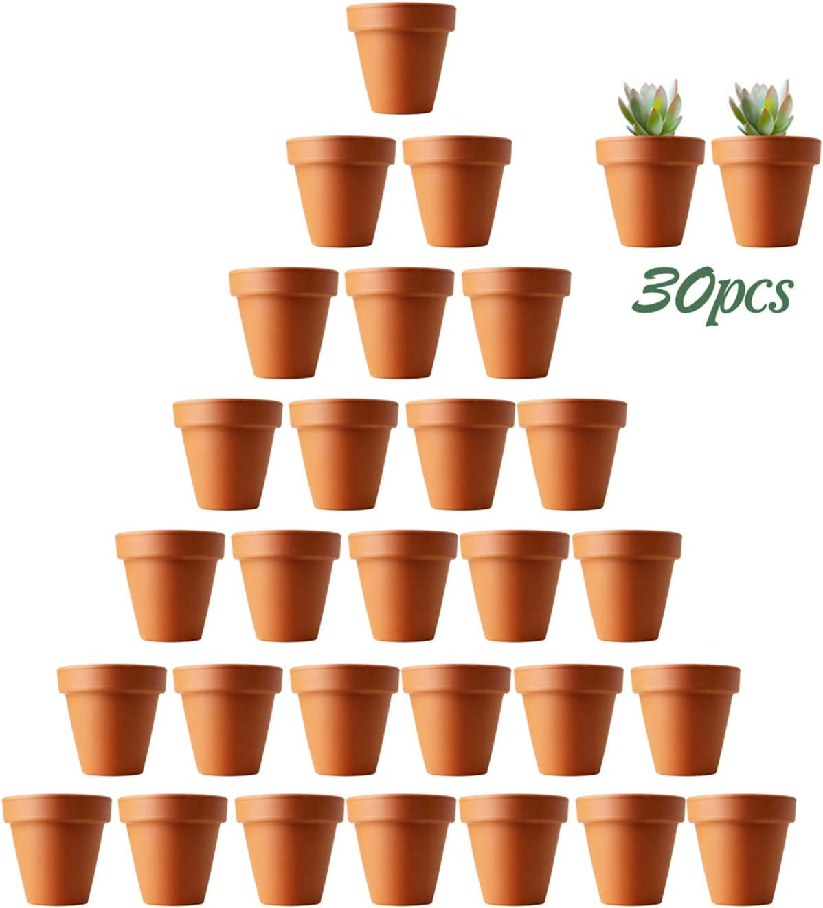 Mini Clay Pots, 30 PCS Small Mini Terracotta Pot Clay Ceramic Pottery Planter, Cactus Flower Terracotta Pots, DIY Home Office Desktop Windowsill Ornament Decoration