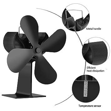 Ventilador de chimenea,Accionado por calor Ventilador de la estufa,Decoración de la chimenea,Aumenta la circulación de aire caliente Mejorar la convección ...
