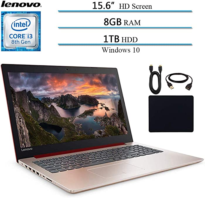 "Lenovo Ideapad 330 2019 Newest Premium 15.6"" HD Laptop Computer Notebook, Intel Core i3-8130U (Beat i5-7200U), 8GB RAM, 1TB HHD, Intel UHD 620, Win 10, Red W/ Masdrow Accessories"