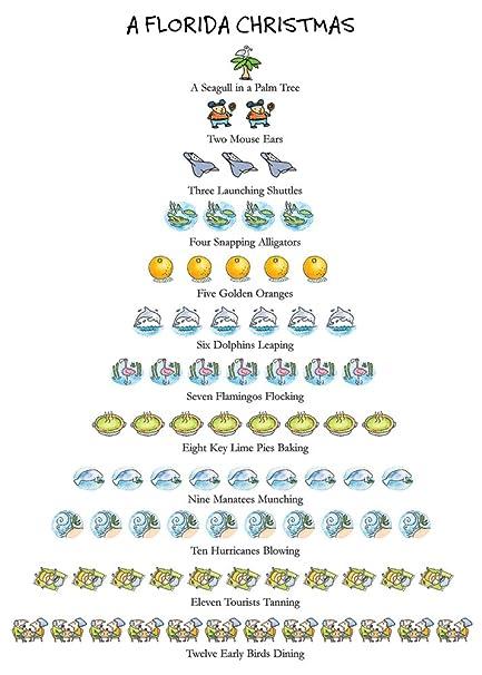 florida christmas box of 15 holiday cards and envelopes 12 days of christmas series - Florida Christmas