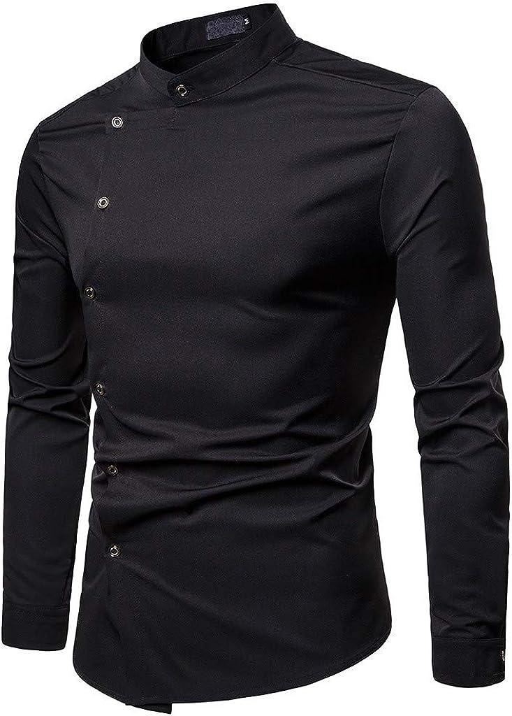 Camisa De Manga Larga para Hombre BotóN De Color SóLido Camisa Causal Blusa Superior