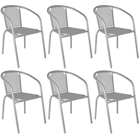 Promobo - Conjunto Bistrot - Juego 6 sillones Silla jardín ...