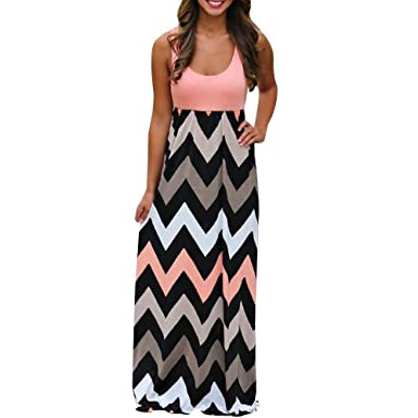 78e7f738de5 LuckUK Womens Boho Dress Lady Striped Beach Spring Summer Long Dress Casual  Sundress Maxi Dress Plus Size  Amazon.co.uk  Clothing